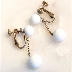 Vintage Screw back White Ball Dangle Earrings